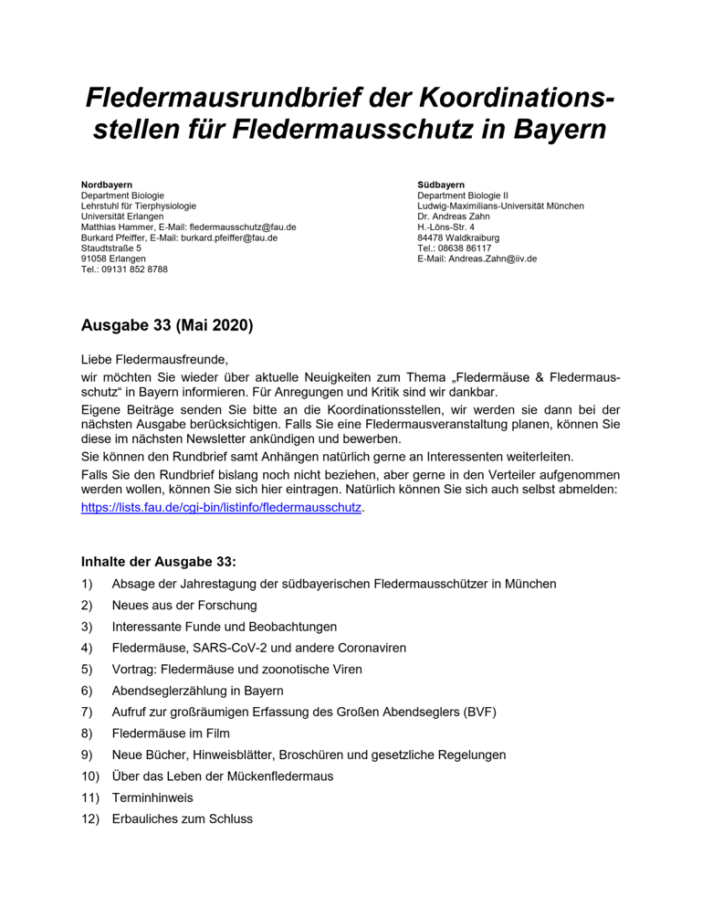 Fledermausrundbrief der Koordinationsstellen für Fledermausschutz in Bayern - Ausgabe 33