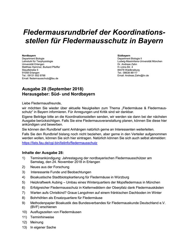 Fledermausrundbrief der Koordinationsstellen für Fledermausschutz in Bayern Nr. 28
