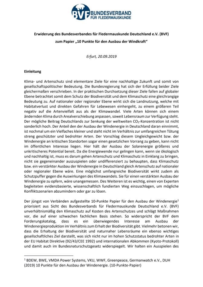 """Erwiderung des Bundesverbandes für Fledermauskunde Deutschland e.V. (BVF) zum Papier """"10 Punkte für den Ausbau der Windkraft"""""""