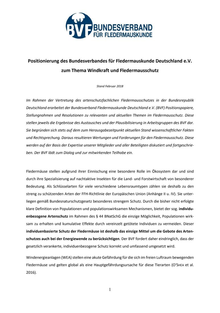 Positionierung des Bundesverbandes für Fledermauskunde Deutschland e.V. zum Thema Windkraft und Fledermausschutz