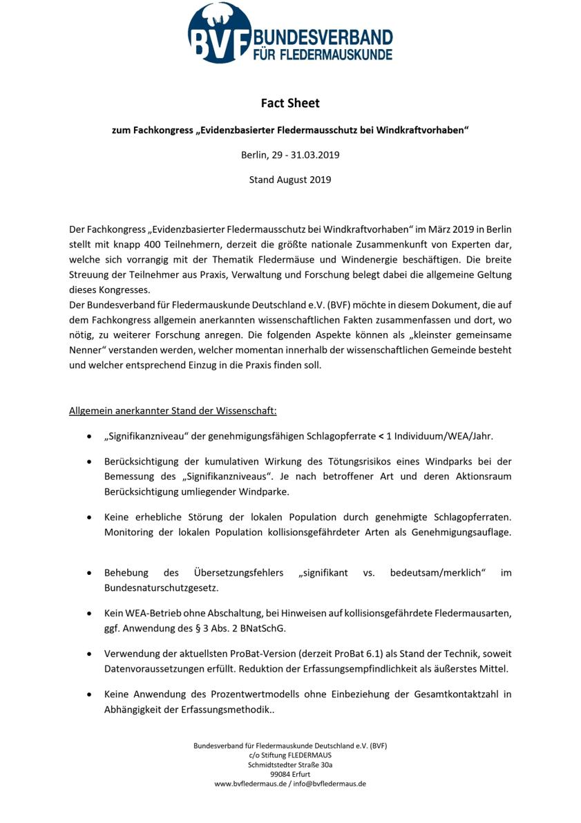 """Fact sheet zum Fachkongress """"Evidenzbasierter Fledermausschutz bei Windkraftvorhaben"""""""