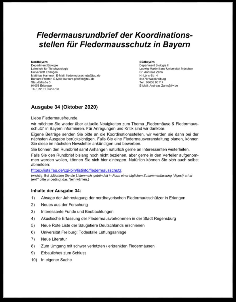 Fledermausrundbrief der Koordinationsstellen für Fledermausschutz in Bayern - Ausgabe 34