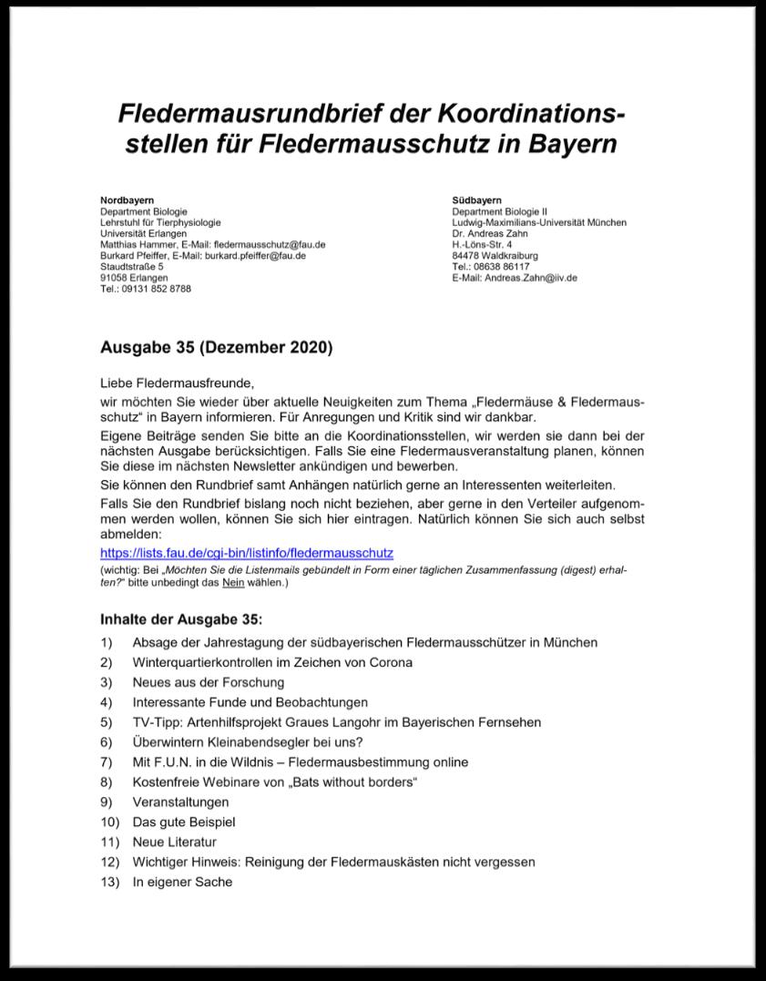 Fledermausrundbrief der Koordinationsstellen für Fledermausschutz in Bayern - Ausgabe 35