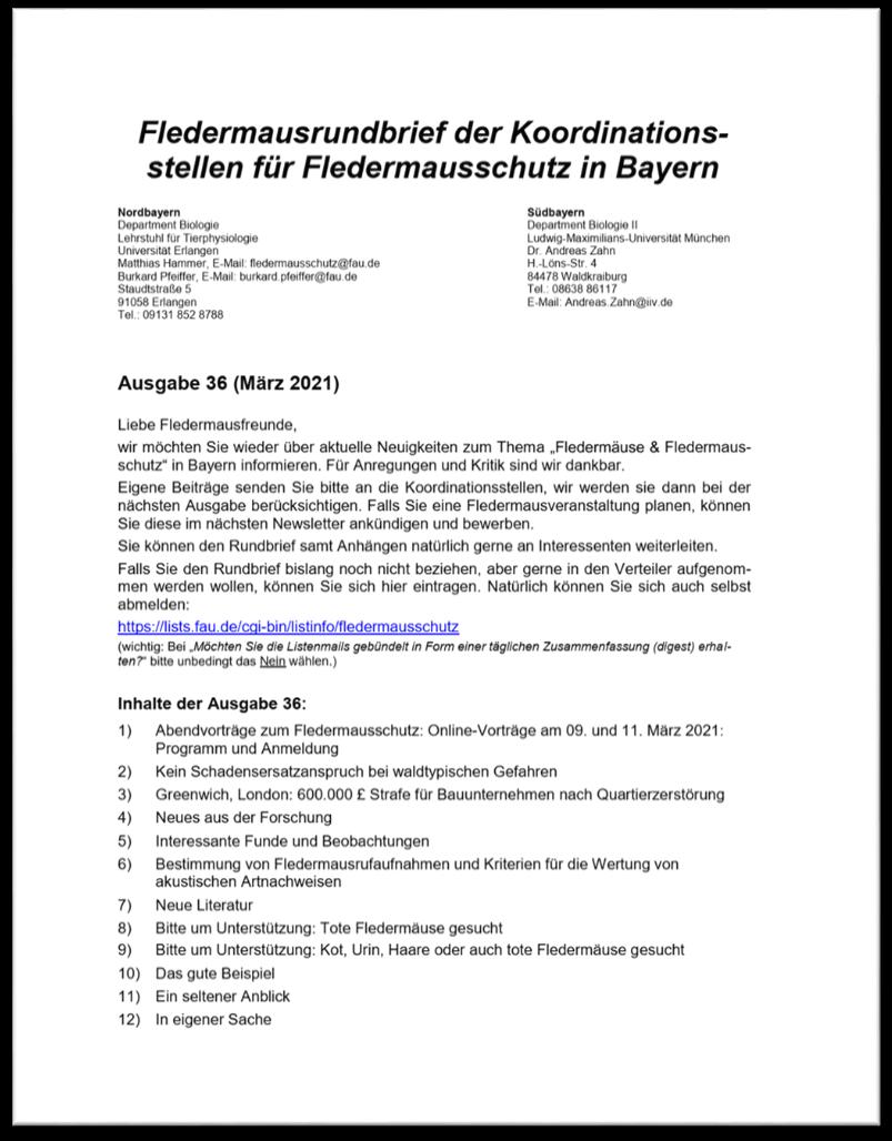 Fledermausrundbrief der Koordinationsstellen für Fledermausschutz in Bayern - Ausgabe 36