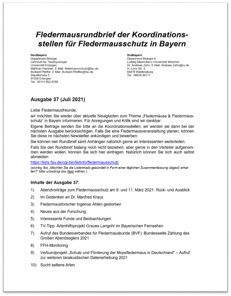 Fledermausrundbrief der Koordinationsstellen für Fledermausschutz in Bayern - Ausgabe 37